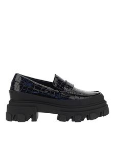 Ganni - Croc print patent leather loafers in black