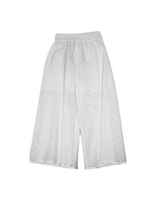 Monnalisa - Perforated pants in white