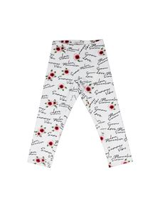 Monnalisa - Rose logo pants in white