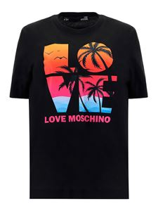 Love Moschino - Tropical printed T-shirt in black