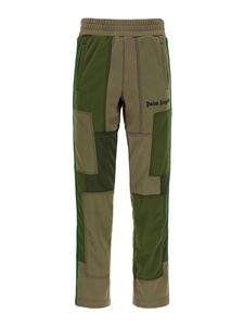 Palm Angels - Colour-block sweat pants in green