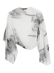 Max Mara - Floral printed stole in white
