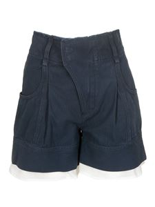 Chloé - Lingerie detailed high-waisted shorts in blue
