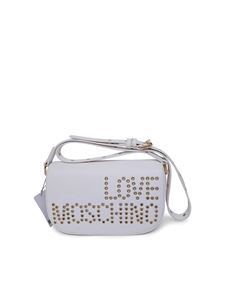 Love Moschino - Studded logo shoulder bag in white