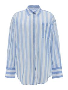 MSGM - Striped shirt in white and light blue