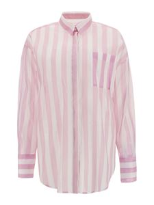 MSGM - Striped shirt in white and pink