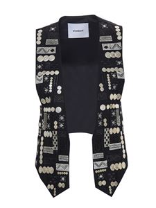 Dondup - Silver details vest in black
