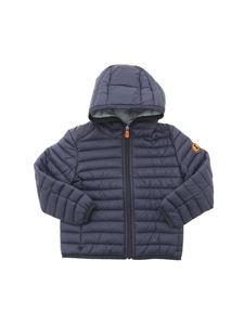 Save The Duck - Hooded puffer jacket in blue