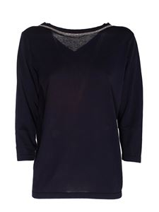 Fabiana Filippi - Front-back sweater in blue with lurex detail