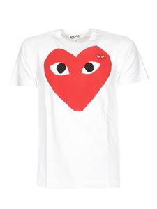 Comme des Garçons Play  - Red Heart T-shirt in white