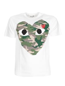 Comme des Garçons Play  - Camouflage Heart T-shirt in white