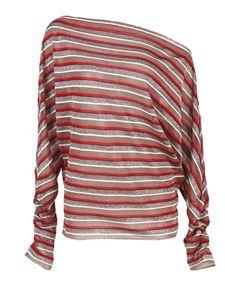 Missoni - Striped blouse in red beige and silver