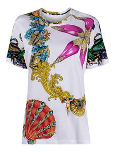 Versace - Baroque print cotton T-shirt in white