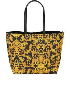 Versace Jeans Couture - Baroque print reversible shopping bag in black