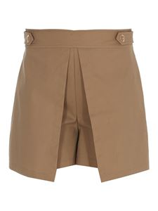 Liujo - Decorative button cotton shorts in camel color