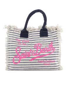 MC2 Saint Barth - Vanity striped cotton beach bag in blue