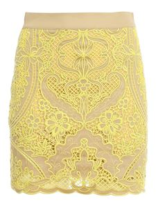 TWINSET - Neon embroidery cotton skirt in beige