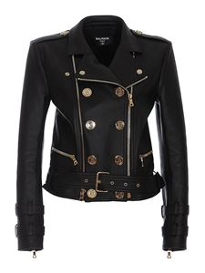 Balmain - Smooth leather zipped jacket in black