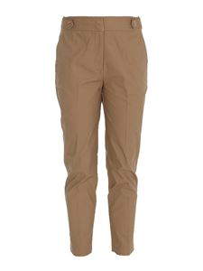 Liujo - Decorative button cotton trousers in camel color