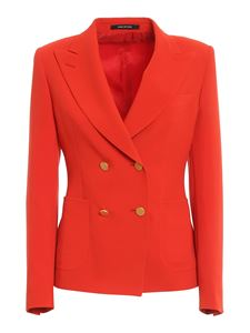 Tagliatore - Crêpe double breasted blazer in red