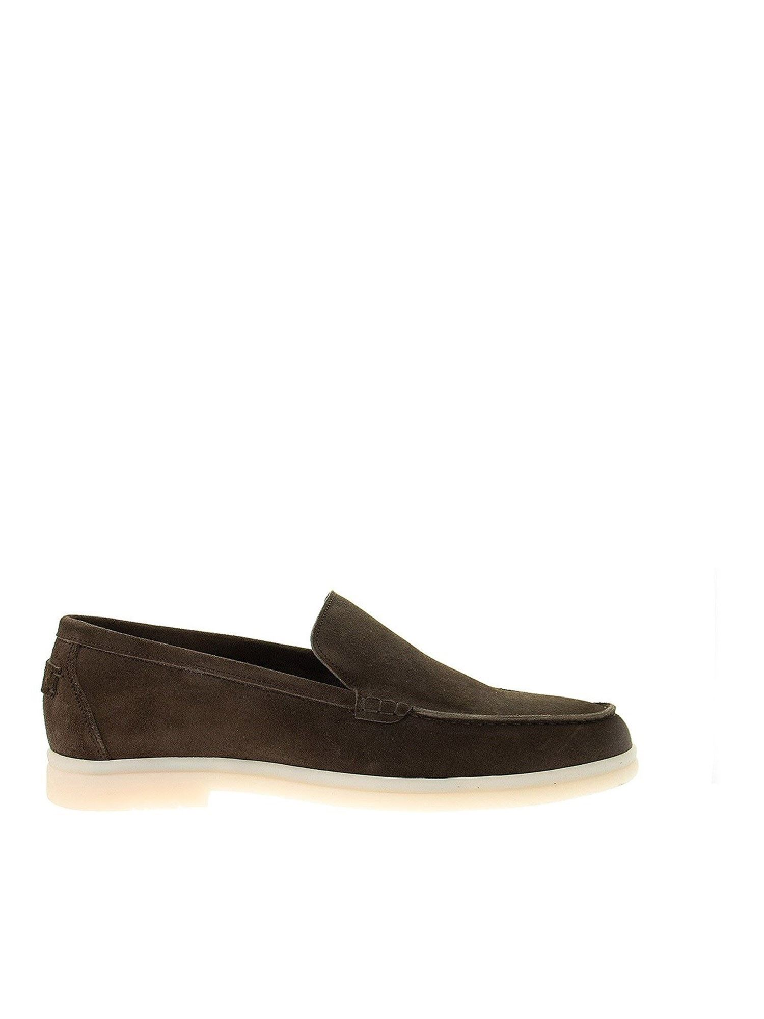 Berwick 1707 SUEDE LOAFERS WITH REAR LOGO PATCH