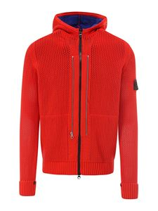 Stone Island - Red knitted cotton hoodie in red