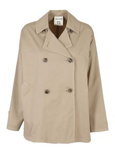 Semicouture - Cotton double breasted trench in beige