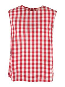 Semicouture - Claire tank top in white and red