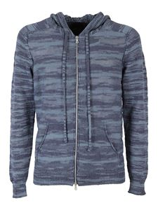 Roberto Collina - Cotton knit hoodie in blue