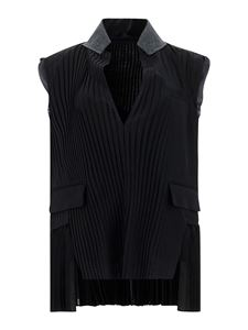 Sacai - Ribbed vest in black