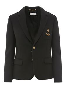 Saint Laurent - Anchor embroidery blazer in black