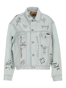 Golden Goose - Printed denim jacket in light blue