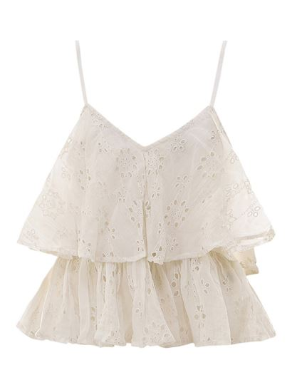 Mes Demoiselles - White broderie anglaise top in white