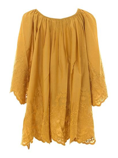 Mes Demoiselles - Embroidered cotton blouse in yellow