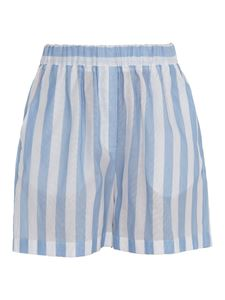 MSGM - Striped linen high waist trousers in light blue