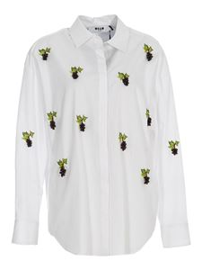 MSGM - Embroidered grape cotton shirt in white