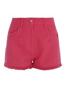 MSGM - Cotton-linen blend shorts in fuchsia