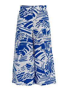 MSGM - Wide leg printed pants in blue