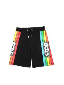 GCDS - Multicolor prints bermuda shorts in black