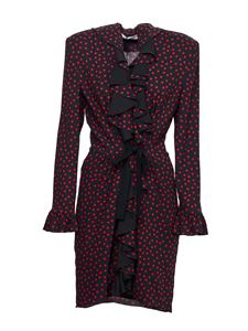 Philosophy di Lorenzo Serafini - Polka dot rouches detail dress in black