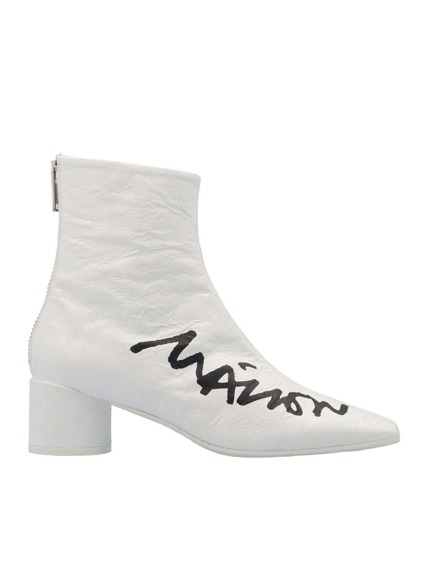 Mm6 Maison Margiela Shoes LOGO PRINT ANKLE BOOTS IN WHITE