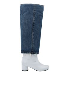 MM6 Maison Margiela - Crackle high boot in white and denim
