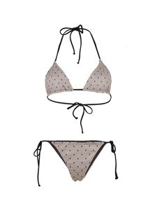 Red Valentino - Bikini stampa Point D'Esprit nero