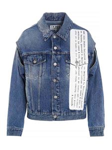 MM6 Maison Margiela - Lettering print denim jacket in blue