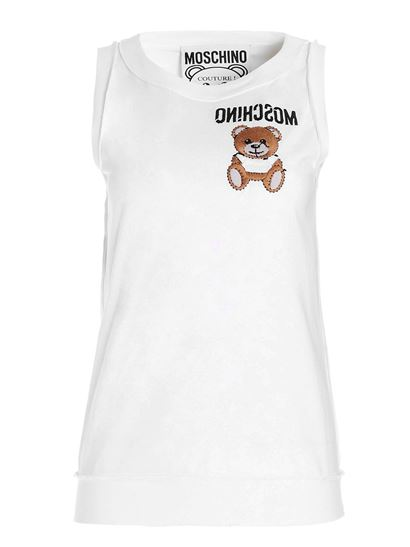 Moschino - Inside Out Teddy Bear top in white