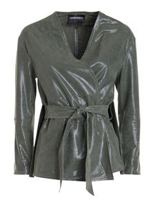 Emporio Armani - Leather kimono-jacket in green