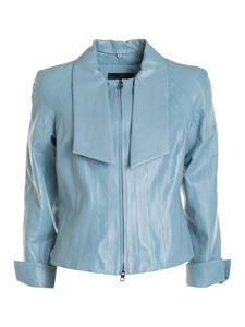 Emporio Armani - Leather jacket in light blue