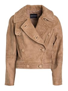 Emporio Armani - Nappa double breasted jacket in beige