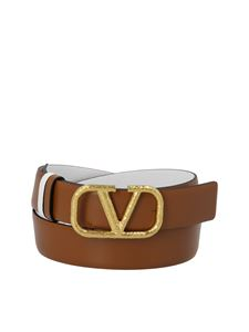 Valentino Garavani - Reversible VLogo belt in brown and white