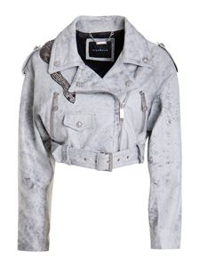 John Richmond - Cropped leather jacket in grey
